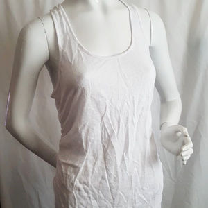 Heather White Linen Shirred Side Tank Top Size S